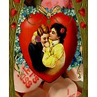 Romantic Couple With Hearts & Roses (Vintage Valentine Greeting Collage) by Welte Arts & Trumpery