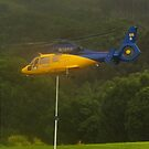 Goal!  RFS Chopper takeoff in heavy rain by Odille Esmonde-Morgan
