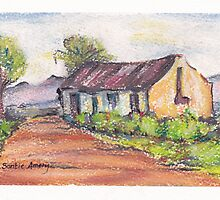 Little house next to a lonely road by Santie Amery