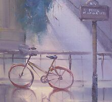 bicyclette sous la pluie (bicycle in the rain) by Tash  Luedi Art