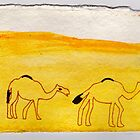 Camel Procession, 2007 - ink on khadi by phoebetodd