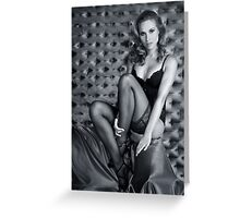 Sexy Lingerie Model posing pretty at studio vintage background Greeting Card