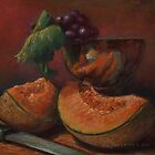 Cantaloupe and Grapes Still Life by Sue Deutscher