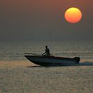 Speedboat at Sunset in Bar Bar by Julian Lowry