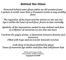 BEHIND THE GLASS by Nancy Shields