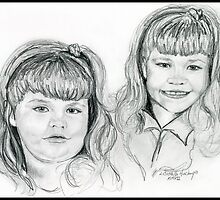 The Blevin's Girls Portrait Drawing by Linda Costello Hinchey