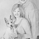 Christie & Daniel portrait drawing by Linda Costello Hinchey