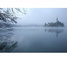 Misty Lake Bled Photographic Print