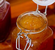 Apricot Jam in a glass jar by Heather  McCann