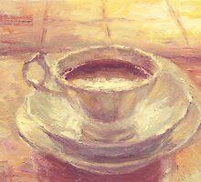 Coffee cup still life oil painting by Svetlana  Novikova