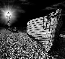 fishing boat graveyard after dark by meirionmatthias