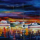 YACHT CLUB NIGHT - LEONID AFREMOV by Leonid  Afremov