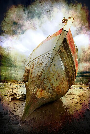 textured and beached fishing boat by meirionmatthias