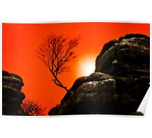 sunset at brimham rocks Poster