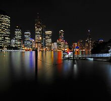 Brisbane River & City By Night. Queensland, Australia. (2) by Ralph de Zilva