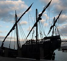 Replica Portugese Caravel at Geelong by Tom Smeaton