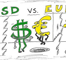 Dollar versus Euro - binary options editorial comic strip by Binary-Options