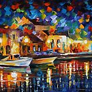 NIGHT RIVERFRONT - LEONID AFREMOV by Leonid  Afremov