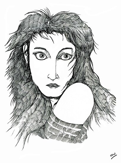 Kate Bush: A Sea of Honey Pen Drawing by Grant Wilson