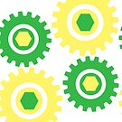 Retro Cogs Yellow & Green  by Anthony  Poynton