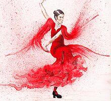 Bailaora de flamenco - Rojo by TCottee