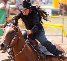Taralga Rodeo - female rider by Graham Grocott