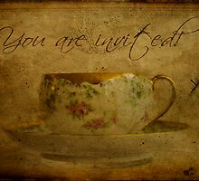 You Are Invited Tea Cup Card by Sandra Foster