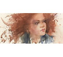 a face study in watercolour Photographic Print