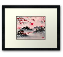 Pink and Red Mountains Framed Print