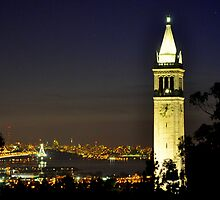 UC Berkeley Clock Tower @ Nite by Bob Moore