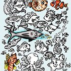 Cartoon Fishies  by Ameda Nowlin