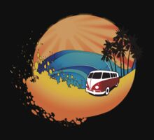 Camper on sunset beach by aaronnaps