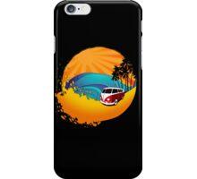 Camper on sunset beach iPhone Case/Skin