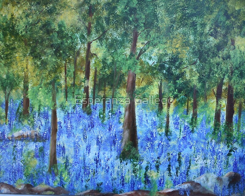 Blue in the forest acrylic painting by esperanza for Painting a forest in acrylics
