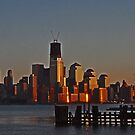 Lower Manhattan skyline at sunset - New York City by michael6076