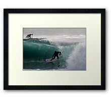 Surfer getting Barrelled at Dee Why Point Framed Print