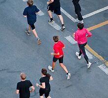 Joggers seen from above by Michael Brewer