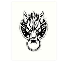 Cloud Strife's Wolf Emblem (Black) Art Print