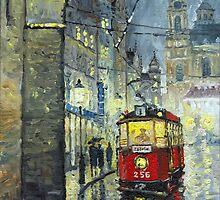 Praha Red Tram Mostecka str  by Yuriy Shevchuk