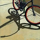 """""""Splash of Red"""" - bicycle oil painting by LindaAppleArt"""