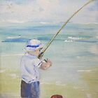 little boy fishing by Almeta