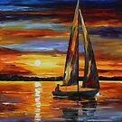 SAILING BY THE SHORE - LEONID AFREMOV by Leonid  Afremov