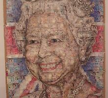 Queen  Elizabeth 2nd II PORTRAIT ,MONEY AND ACRYLIC,240X140CM by benny woodvine