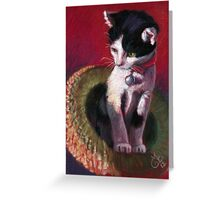 """Original PASTEL Painting Drawing """"Cat out of the Hat"""" by Magaly Burton Greeting Card"""