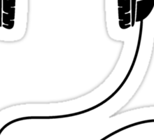 Headphones - Black Line Art - With Cord Sticker