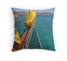 Boat cruising Throw Pillow