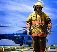 Fireman on Rig by Kai Photography, Western Australia
