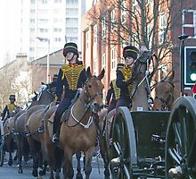 The King's Troop Royal Horse Artillery  parading to their new barracks. by Keith Larby