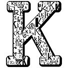 The Letter K, white background by Julie Hartman