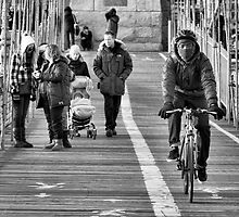 Cyclist on Brooklyn Bridge by JPassmore